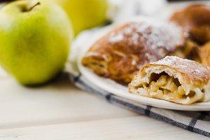 Freshly baked apple pie on plate