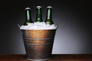 Bucket of Beer on Wood