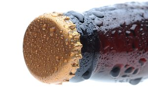 Closeup of a Beer Bottle Neck & Cap