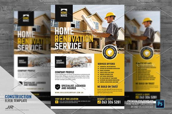 Home Renovation And Construction Creative Photoshop Templates Creative Market