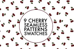 9 Seamless cherry pattern swatches