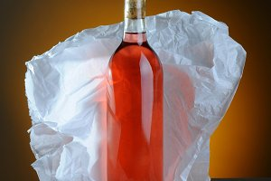 Blush Wine Bottle Still Life