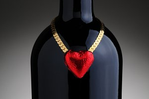 Foil Chocolate Heart and Wine Bottle