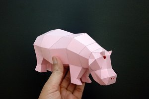 DIY Hippo Sculpture - 3d papercraft