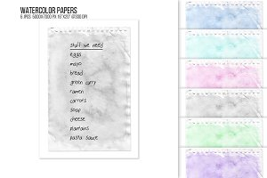 Watercolor stained note paper BG.