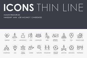 Human resources thinline icons