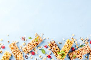 Granola with berries and mint
