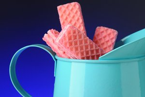 Pink Sugar Wafers in Blue Tin