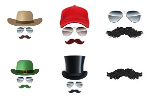 Set of Mustache Face Illustration