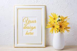 Gold decorated frame mockup