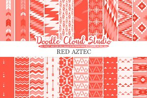 Red Aztec digital paper