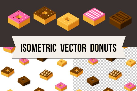 Isometric vector donuts + pattern in Objects