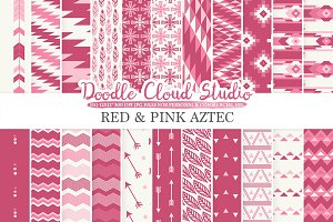 Red and Pink Aztec digital paper