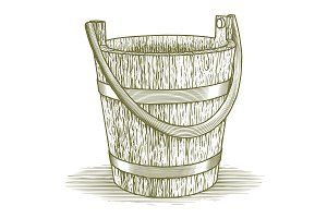 Woodcut Wooden Farm Bucket