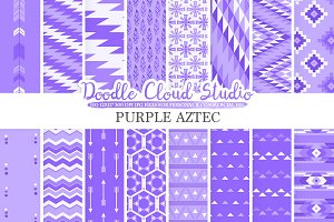Purple Aztec digital paper