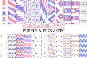 Purple and Pink Aztec digital paper