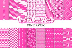 Pink Aztec digital paper