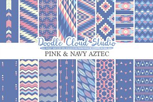Pink and Navy Aztec digital paper