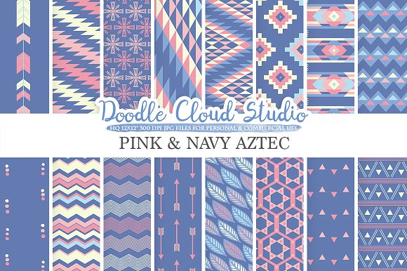 Pink And Navy Aztec Digital Paper