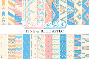 Pink and Blue Aztec digital paper