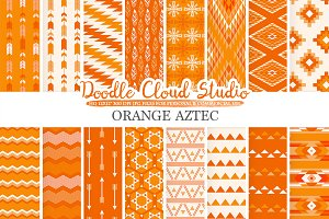 Orange Aztec digital paper