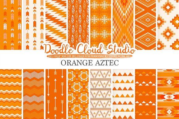 Orange Aztec Digital Paper