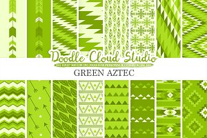 Green Aztec digital paper