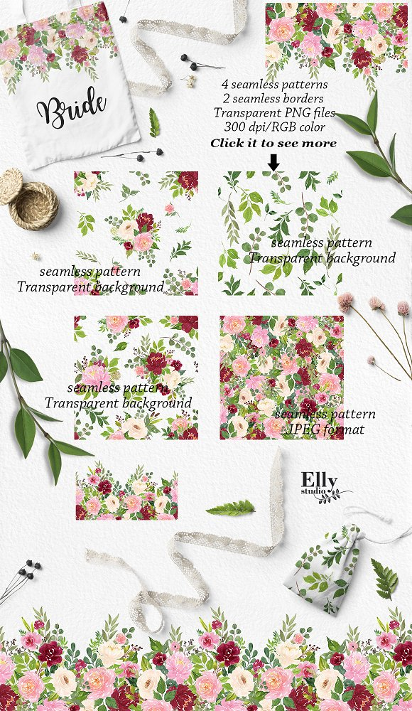 Watercolor Flower Graphic Set Illustrations Creative Market
