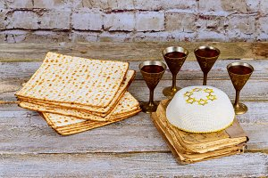 Passover background wine and matzoh