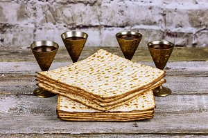 A Jewish Matzah bread with wine.