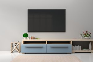 TV on the wall in modern living room