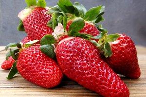 Fresh strawberries foreground
