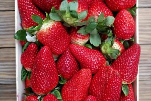 Fresh strawberries on box