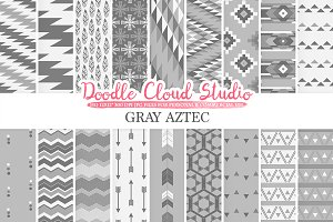 Gray Aztec digital paper