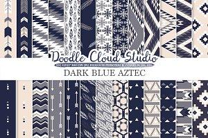 Dark Navy Blue Gray Cream Aztec