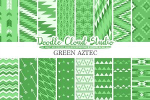 Dark Green Aztec digital paper