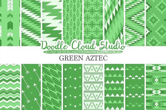 Dark Green Aztec Digital Paper