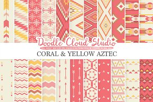 Coral and Yellow Aztec digital paper