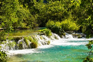 Plitvice lakes, waterfalls. Croatia