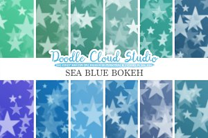 Sea Blue Stars Bokeh digital paper