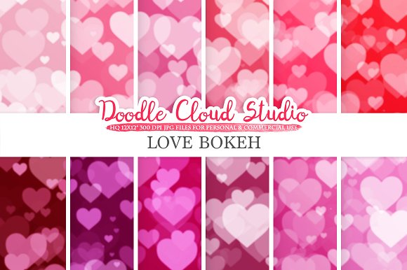 Romantic Hearts Bokeh Digital Paper