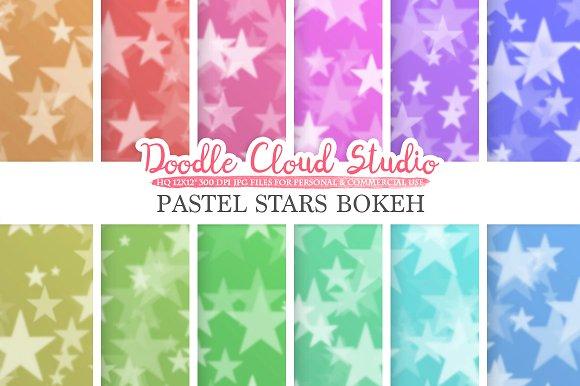 Pastel Stars Bokeh Digital Paper