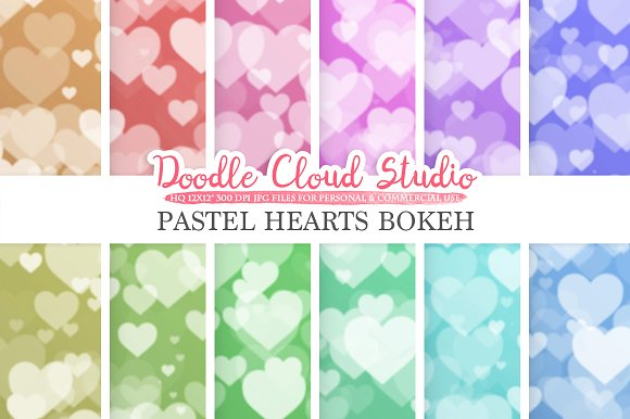 Pastel Hearts Bokeh Digital Paper