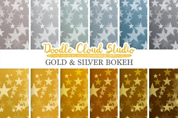 Gold Silver Stars Bokeh