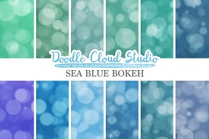 Sea Blue Bokeh digital paper