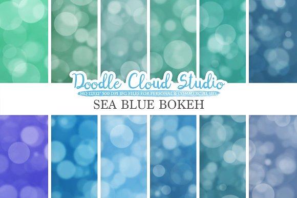 Sea Blue Bokeh Digital Paper