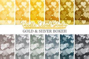 Gold & Silver Hearts Bokeh