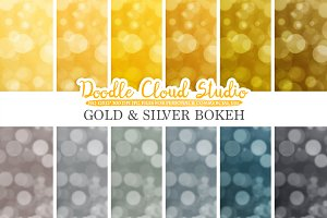 Gold & Silver Bokeh digital paper