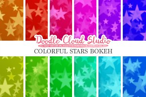 Colorful Stars Bokeh digital paper