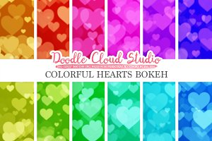 Colorful Hearts Bokeh digital paper